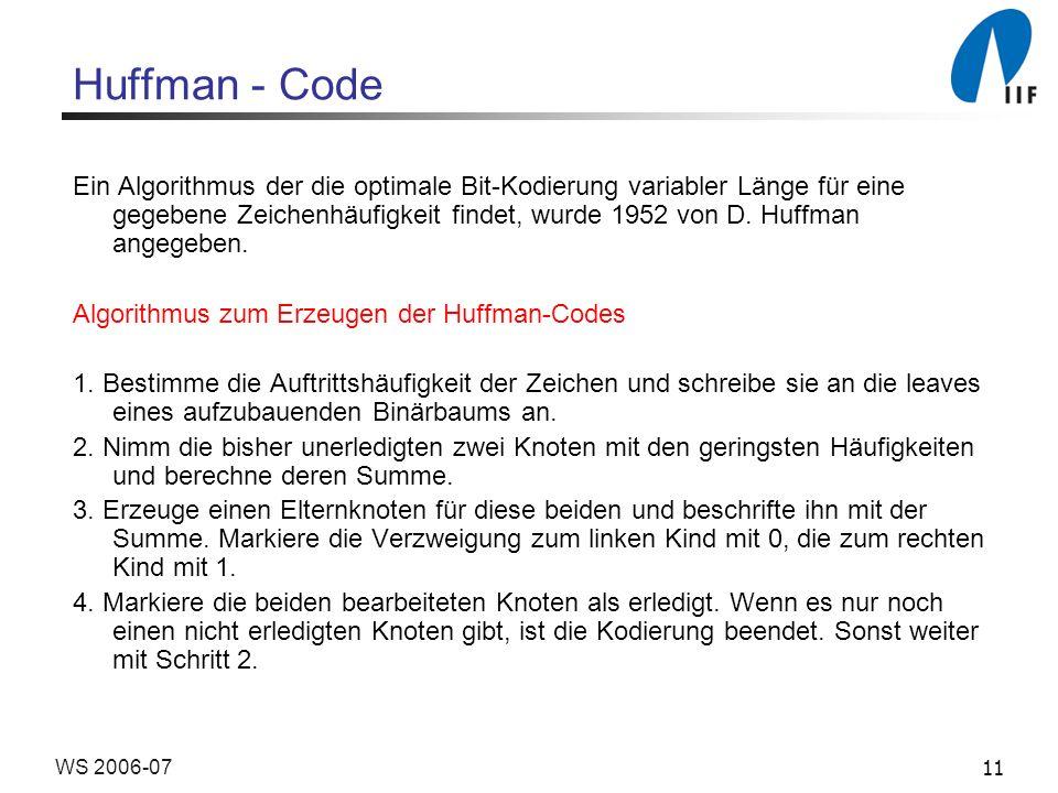 11WS 2006-07 Huffman - Code Ein Algorithmus der die optimale Bit-Kodierung variabler Länge für eine gegebene Zeichenhäufigkeit findet, wurde 1952 von