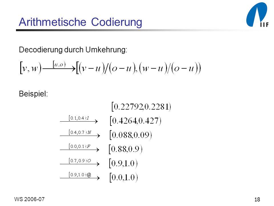 18WS 2006-07 Arithmetische Codierung Decodierung durch Umkehrung: Beispiel: