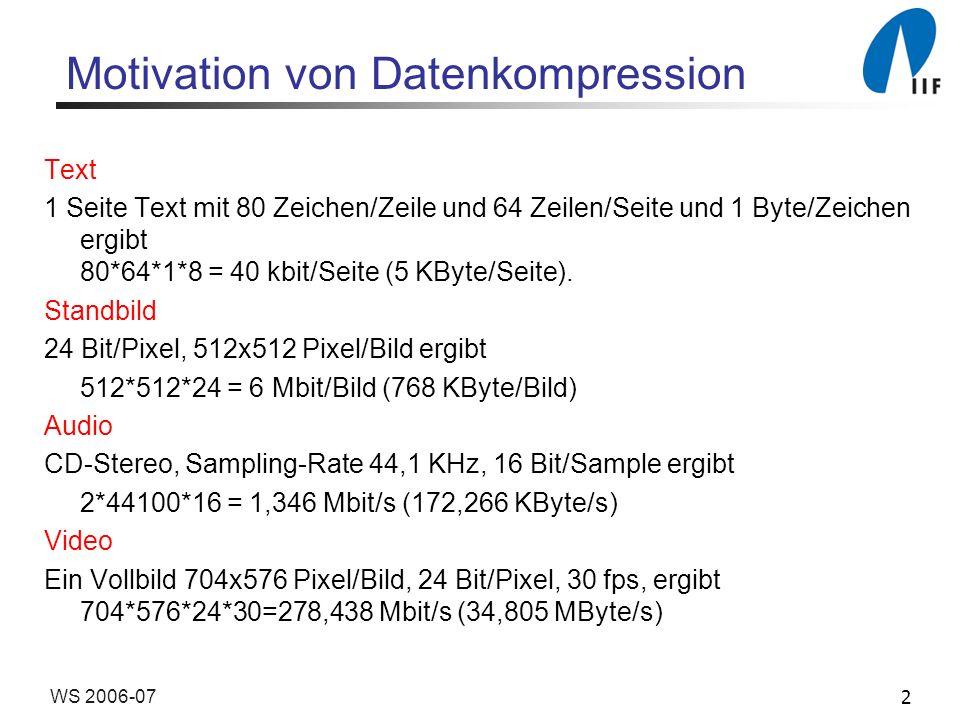 2WS 2006-07 Motivation von Datenkompression Text 1 Seite Text mit 80 Zeichen/Zeile und 64 Zeilen/Seite und 1 Byte/Zeichen ergibt 80*64*1*8 = 40 kbit/S