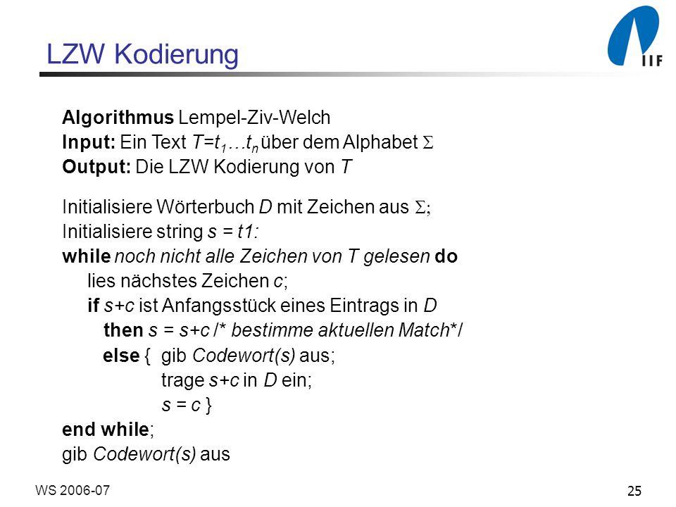 25WS 2006-07 Algorithmus Lempel-Ziv-Welch Input: Ein Text T=t 1 …t n über dem Alphabet Output: Die LZW Kodierung von T Initialisiere Wörterbuch D mit