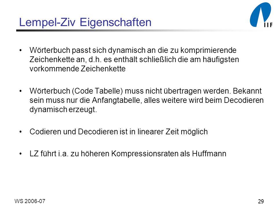 29WS 2006-07 Lempel-Ziv Eigenschaften Wörterbuch passt sich dynamisch an die zu komprimierende Zeichenkette an, d.h. es enthält schließlich die am häu