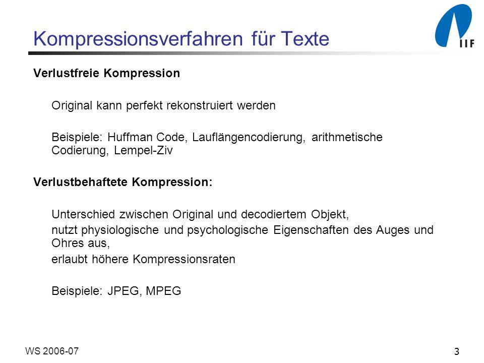 3WS 2006-07 Kompressionsverfahren für Texte Verlustfreie Kompression Original kann perfekt rekonstruiert werden Beispiele: Huffman Code, Lauflängencod