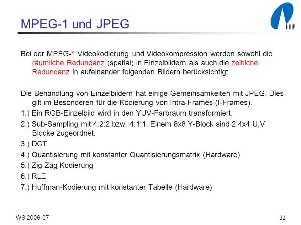 32WS 2006-07 MPEG-1 und JPEG Bei der MPEG-1 Videokodierung und Videokompression werden sowohl die räumliche Redundanz (spatial) in Einzelbildern als a