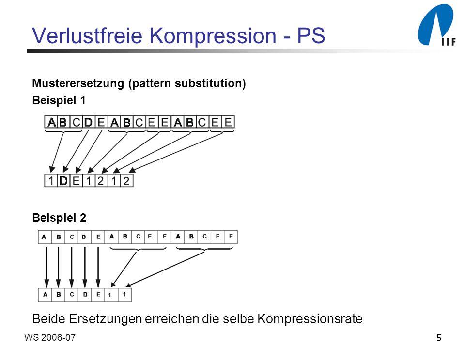 5WS 2006-07 Verlustfreie Kompression - PS Musterersetzung (pattern substitution) Beispiel 1 Beispiel 2 Beide Ersetzungen erreichen die selbe Kompressi