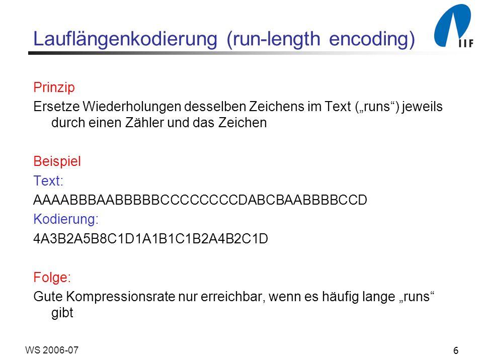 6WS 2006-07 Lauflängenkodierung (run-length encoding) Prinzip Ersetze Wiederholungen desselben Zeichens im Text (runs) jeweils durch einen Zähler und