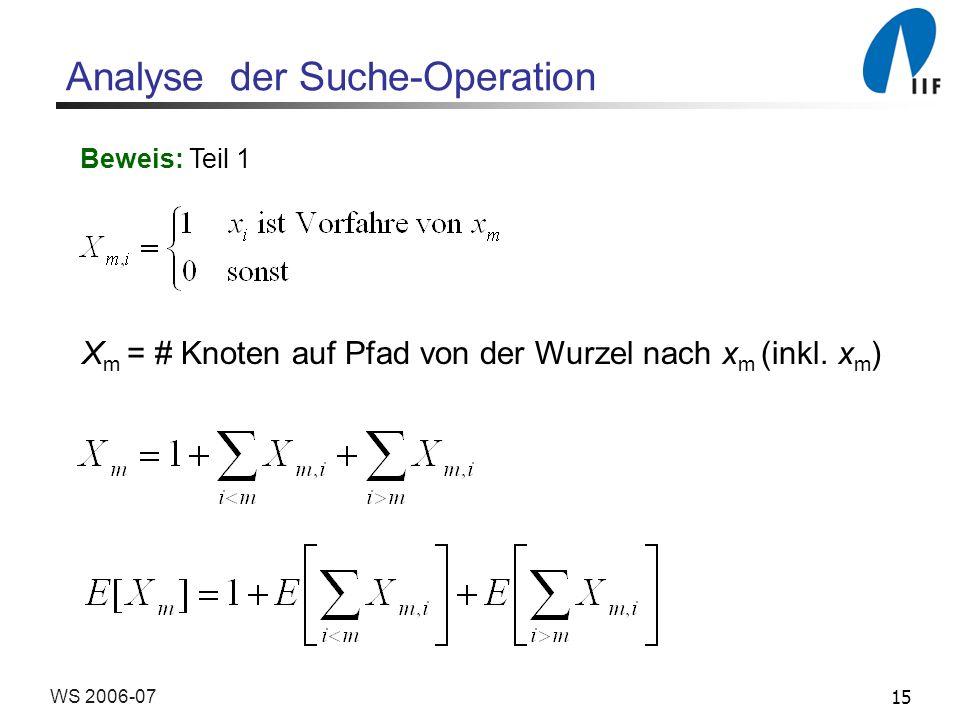 15WS 2006-07 Analyse der Suche-Operation Beweis: Teil 1 X m = # Knoten auf Pfad von der Wurzel nach x m (inkl. x m )