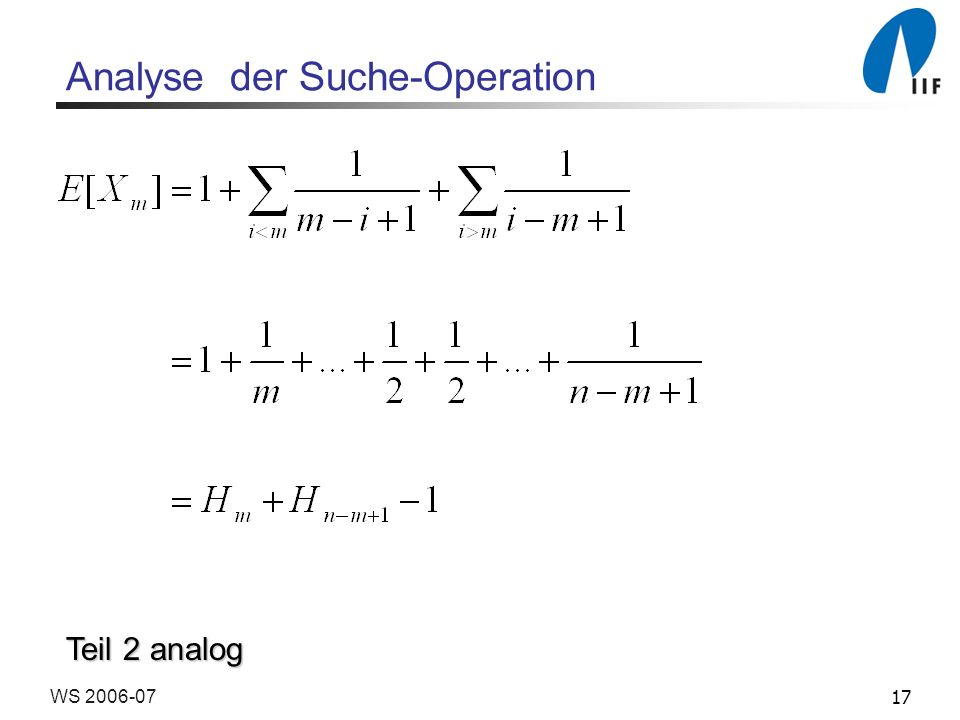 17WS 2006-07 Analyse der Suche-Operation Teil 2 analog