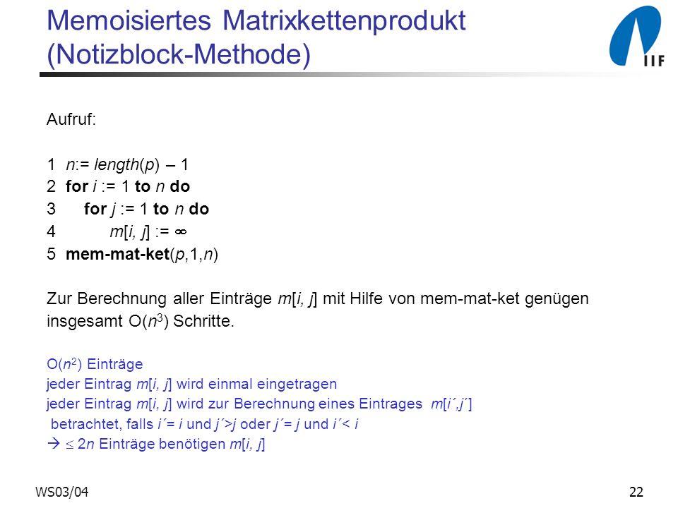 22WS03/04 Memoisiertes Matrixkettenprodukt (Notizblock-Methode) Aufruf: 1 n:= length(p) – 1 2 for i := 1 to n do 3 for j := 1 to n do 4 m[i, j] := 5 mem-mat-ket(p,1,n) Zur Berechnung aller Einträge m[i, j] mit Hilfe von mem-mat-ket genügen insgesamt O(n 3 ) Schritte.