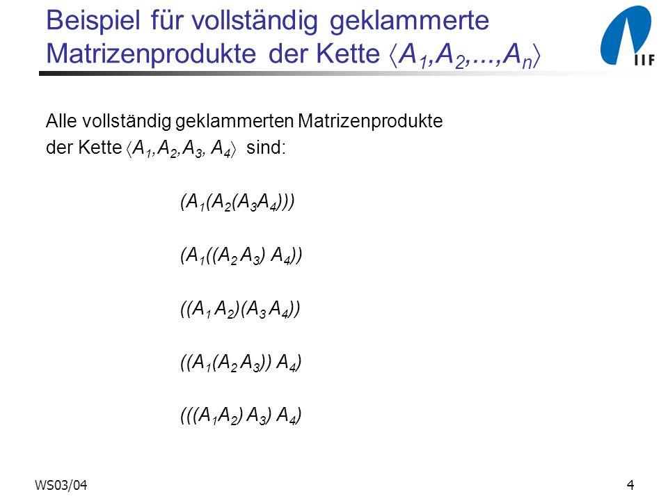 4WS03/04 Beispiel für vollständig geklammerte Matrizenprodukte der Kette A 1,A 2,...,A n Alle vollständig geklammerten Matrizenprodukte der Kette A 1,A 2,A 3, A 4 sind: (A 1 (A 2 (A 3 A 4 ))) (A 1 ((A 2 A 3 ) A 4 )) ((A 1 A 2 )(A 3 A 4 )) ((A 1 (A 2 A 3 )) A 4 ) (((A 1 A 2 ) A 3 ) A 4 )