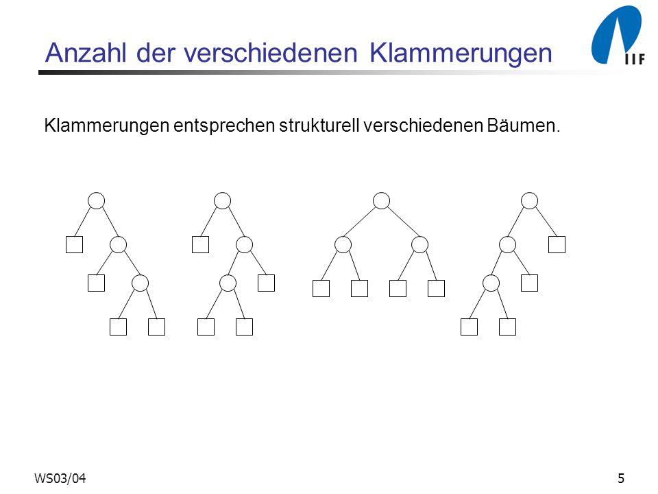 5WS03/04 Anzahl der verschiedenen Klammerungen Klammerungen entsprechen strukturell verschiedenen Bäumen.