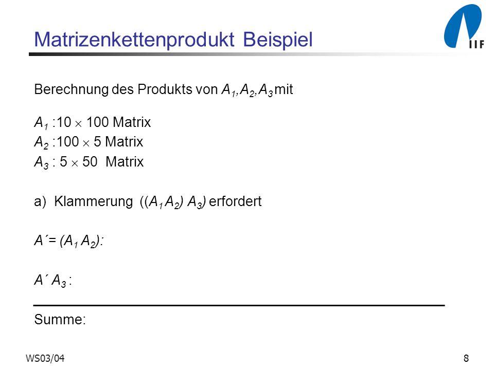 8WS03/04 Matrizenkettenprodukt Beispiel Berechnung des Produkts von A 1,A 2,A 3 mit A 1 :10 100 Matrix A 2 :100 5 Matrix A 3 : 5 50 Matrix a) Klammerung ((A 1 A 2 ) A 3 ) erfordert A´= (A 1 A 2 ): A´ A 3 : Summe: