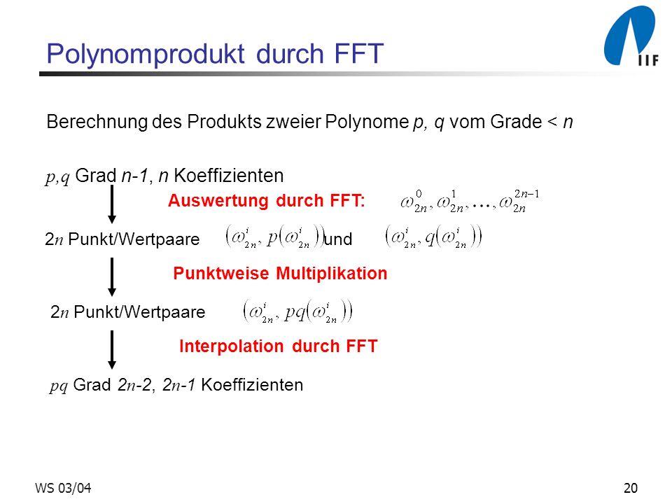 20WS 03/04 Polynomprodukt durch FFT Berechnung des Produkts zweier Polynome p, q vom Grade < n p,q Grad n-1, n Koeffizienten Auswertung durch FFT: 2 n