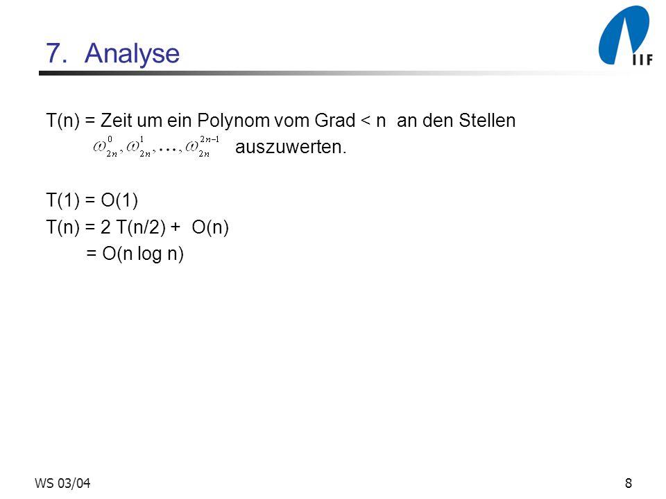 8WS 03/04 7. Analyse T(n) = Zeit um ein Polynom vom Grad < n an den Stellen auszuwerten. T(1) = O(1) T(n) = 2 T(n/2) + O(n) = O(n log n)