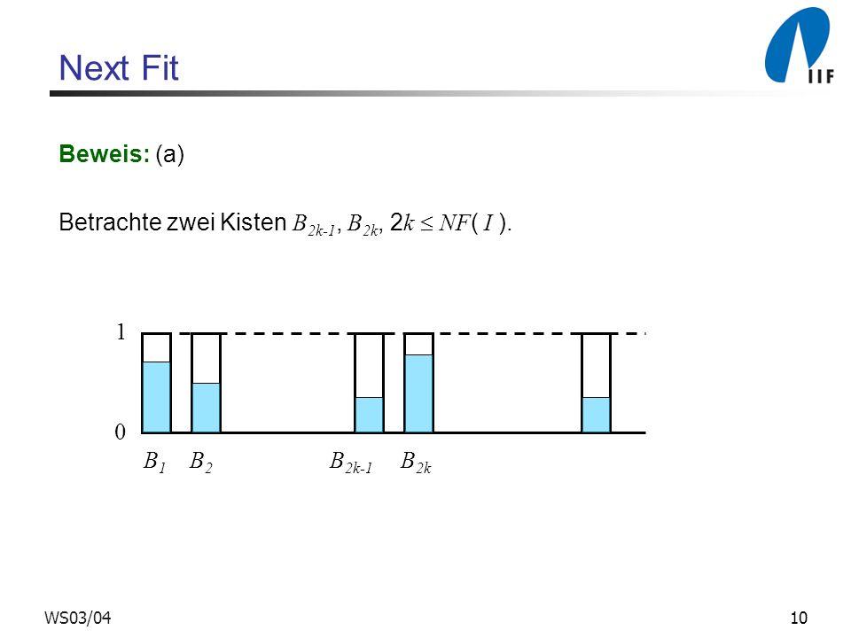 10WS03/04 Next Fit Beweis: (a) Betrachte zwei Kisten B 2k-1, B 2k, 2 k NF ( I ). 0 1 B 1 B 2 B 2k-1 B 2k