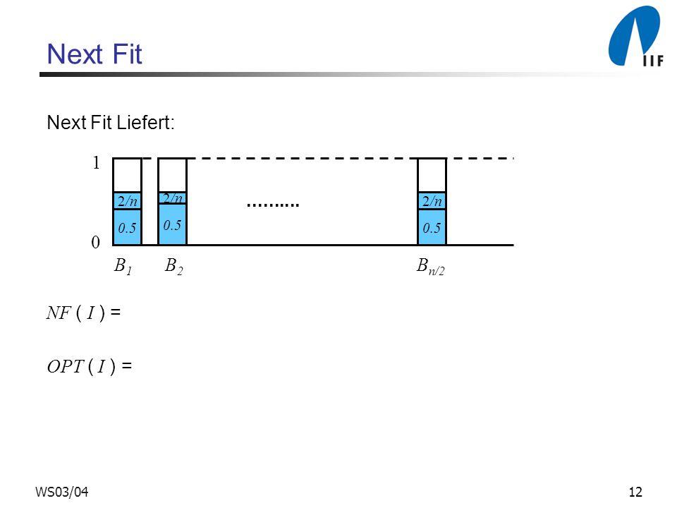 12WS03/04 Next Fit Next Fit Liefert: NF ( I ) = OPT ( I ) = 0 0.5 1 B 1 B 2 B n/2.......... 2/n 0.5 2/n