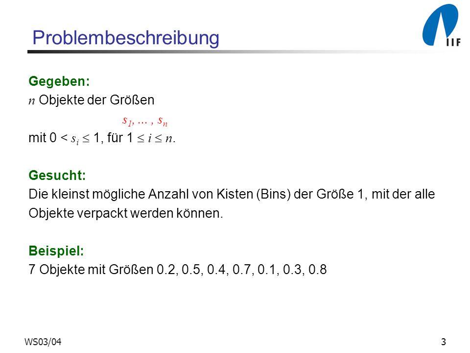 3WS03/04 Problembeschreibung Gegeben: n Objekte der Größen s 1,..., s n mit 0 < s i 1, für 1 i n. Gesucht: Die kleinst mögliche Anzahl von Kisten (Bin