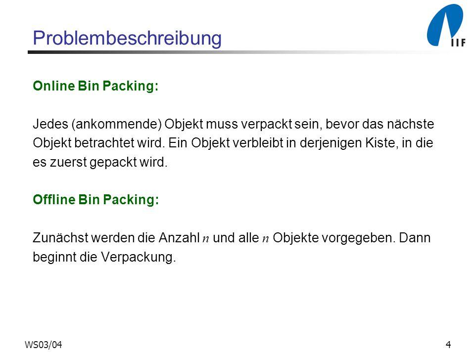 4WS03/04 Problembeschreibung Online Bin Packing: Jedes (ankommende) Objekt muss verpackt sein, bevor das nächste Objekt betrachtet wird. Ein Objekt ve