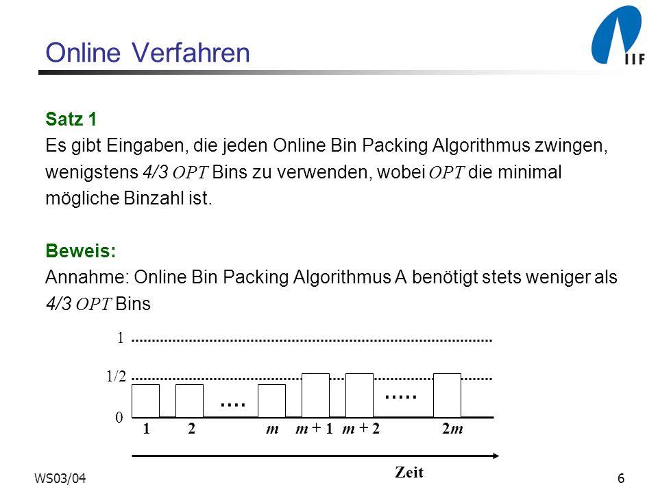 6WS03/04 Online Verfahren Satz 1 Es gibt Eingaben, die jeden Online Bin Packing Algorithmus zwingen, wenigstens 4/3 OPT Bins zu verwenden, wobei OPT d