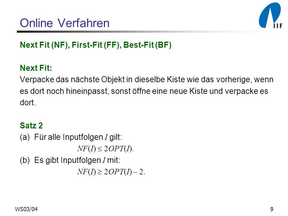 9WS03/04 Online Verfahren Next Fit (NF), First-Fit (FF), Best-Fit (BF) Next Fit: Verpacke das nächste Objekt in dieselbe Kiste wie das vorherige, wenn