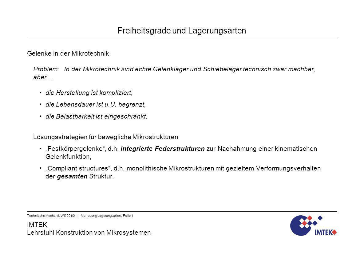 IMTEK Lehrstuhl Konstruktion von Mikrosystemen Technische Mechanik WS 2010/11 - Vorlesung Lagerungsarten / Folie 1 Freiheitsgrade und Lagerungsarten G