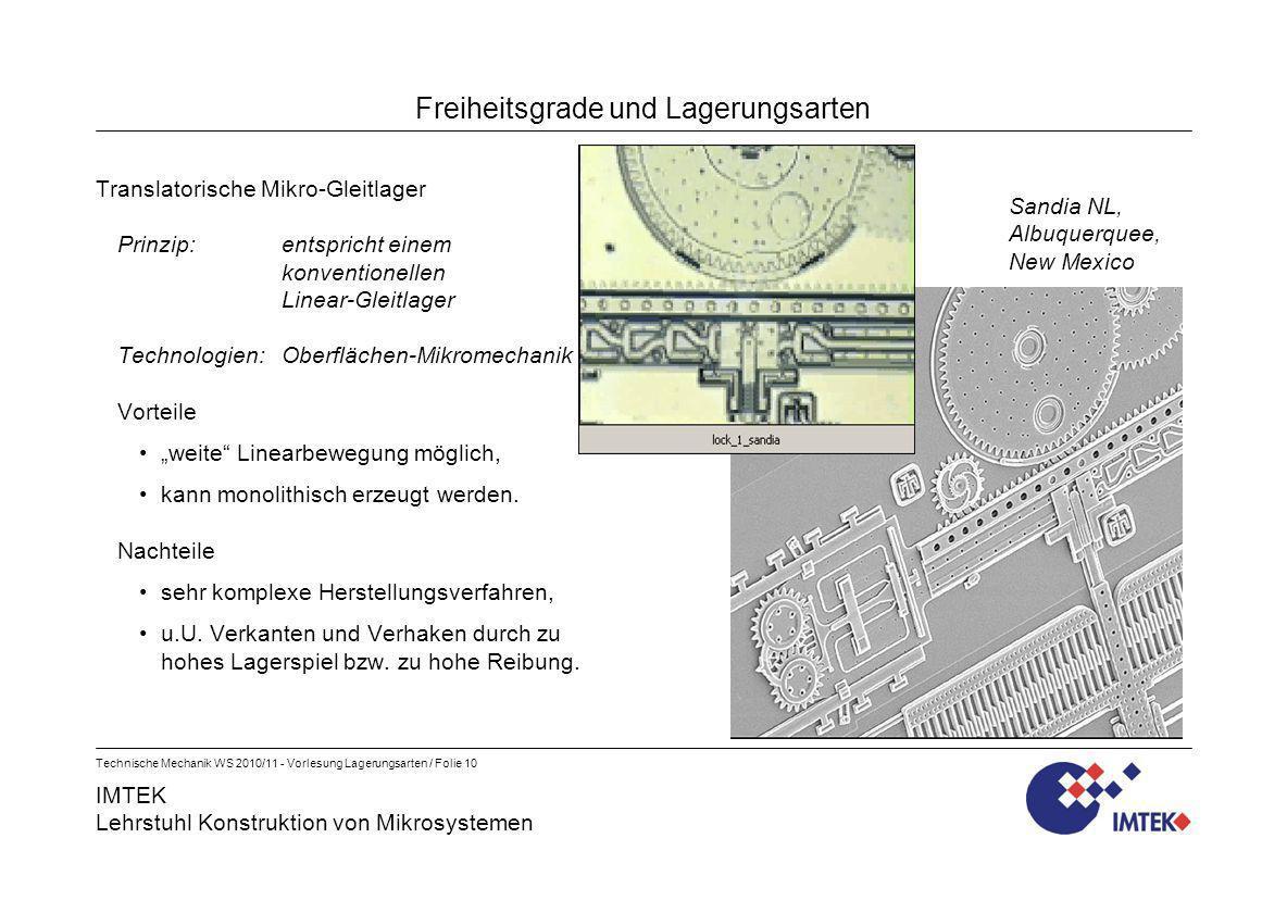 IMTEK Lehrstuhl Konstruktion von Mikrosystemen Technische Mechanik WS 2010/11 - Vorlesung Lagerungsarten / Folie 10 Freiheitsgrade und Lagerungsarten