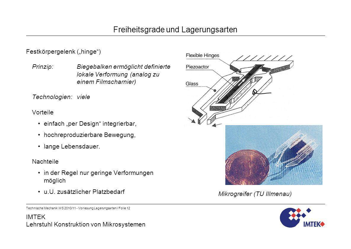 IMTEK Lehrstuhl Konstruktion von Mikrosystemen Technische Mechanik WS 2010/11 - Vorlesung Lagerungsarten / Folie 12 Freiheitsgrade und Lagerungsarten