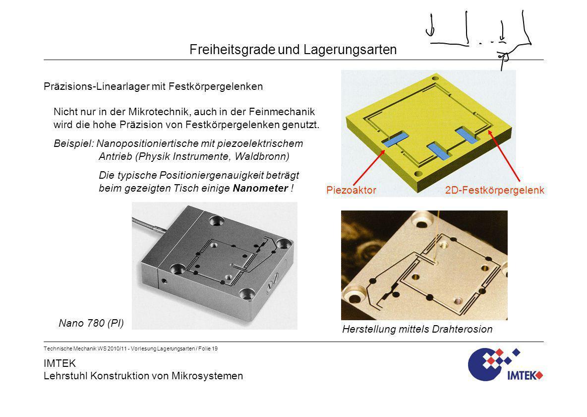 IMTEK Lehrstuhl Konstruktion von Mikrosystemen Technische Mechanik WS 2010/11 - Vorlesung Lagerungsarten / Folie 19 Freiheitsgrade und Lagerungsarten