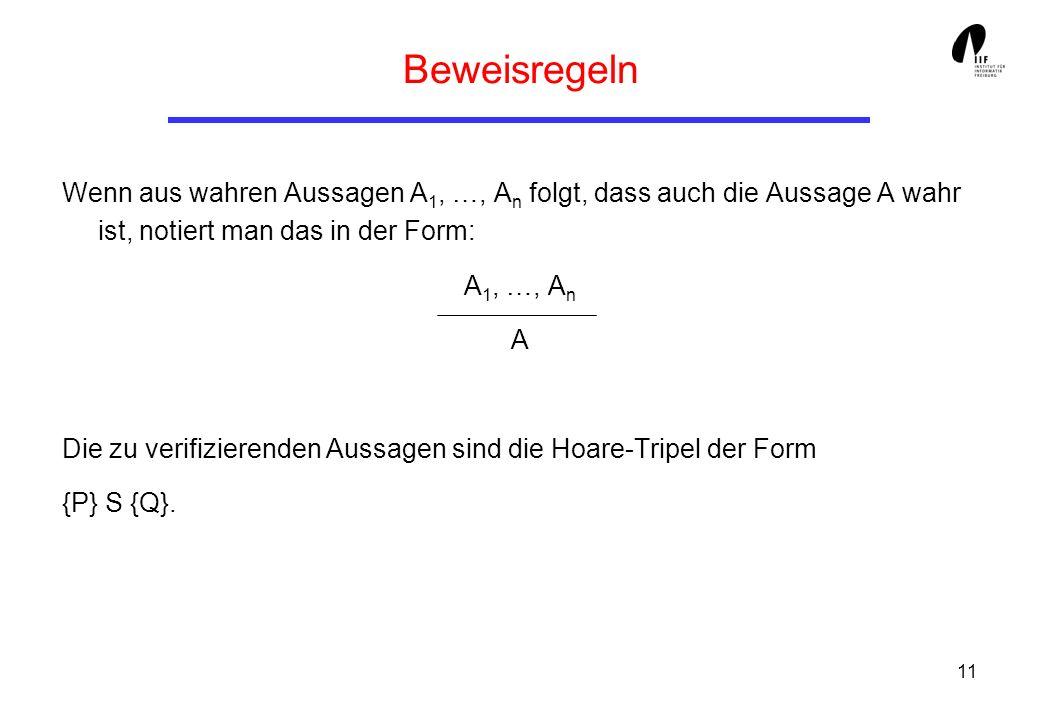 11 Beweisregeln Wenn aus wahren Aussagen A 1, …, A n folgt, dass auch die Aussage A wahr ist, notiert man das in der Form: A 1, …, A n A Die zu verifizierenden Aussagen sind die Hoare-Tripel der Form {P} S {Q}.