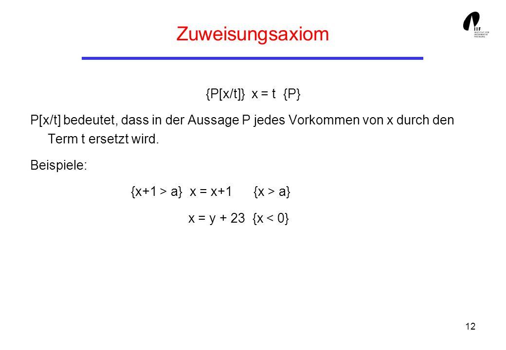 12 Zuweisungsaxiom {P[x/t]} x = t {P} P[x/t] bedeutet, dass in der Aussage P jedes Vorkommen von x durch den Term t ersetzt wird. Beispiele: {x+1 > a}