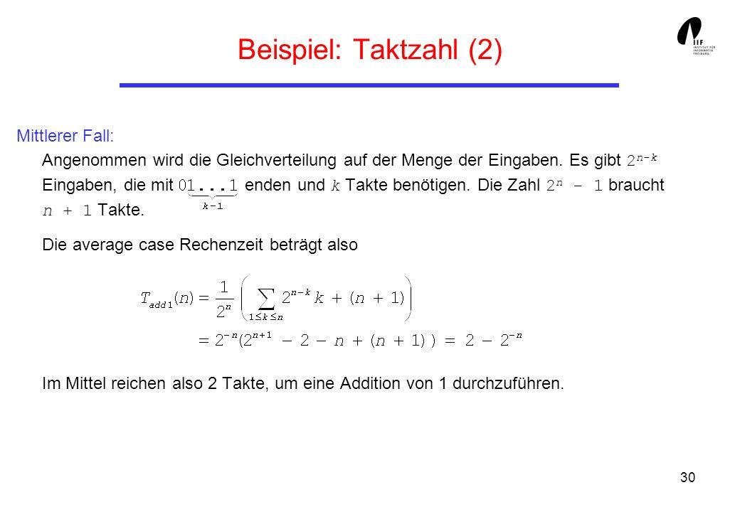 30 Beispiel: Taktzahl (2) Mittlerer Fall: Angenommen wird die Gleichverteilung auf der Menge der Eingaben. Es gibt 2 n-k Eingaben, die mit enden und k