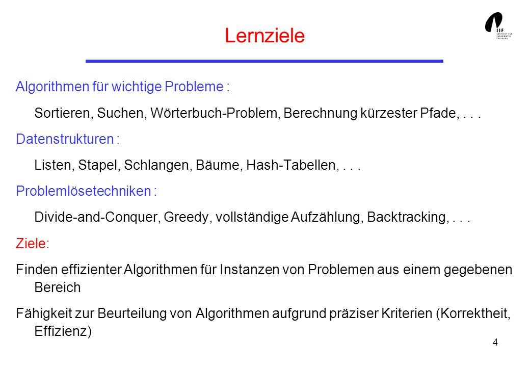 4 Lernziele Algorithmen für wichtige Probleme : Sortieren, Suchen, Wörterbuch-Problem, Berechnung kürzester Pfade,... Datenstrukturen : Listen, Stapel