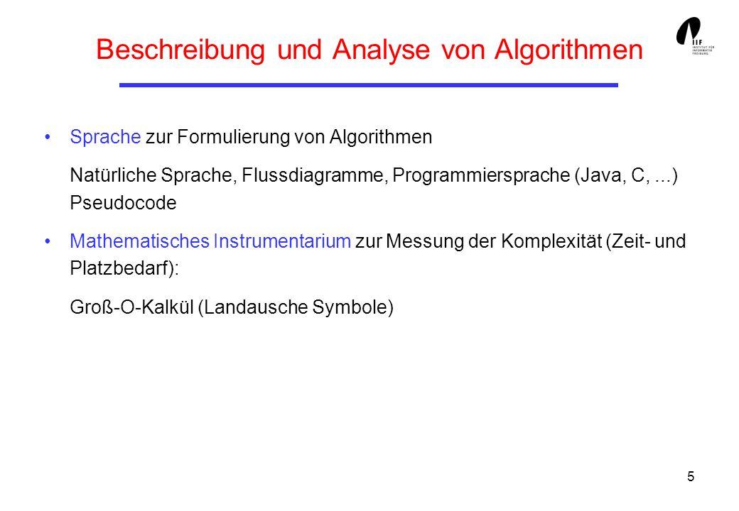 5 Beschreibung und Analyse von Algorithmen Sprache zur Formulierung von Algorithmen Natürliche Sprache, Flussdiagramme, Programmiersprache (Java, C,..