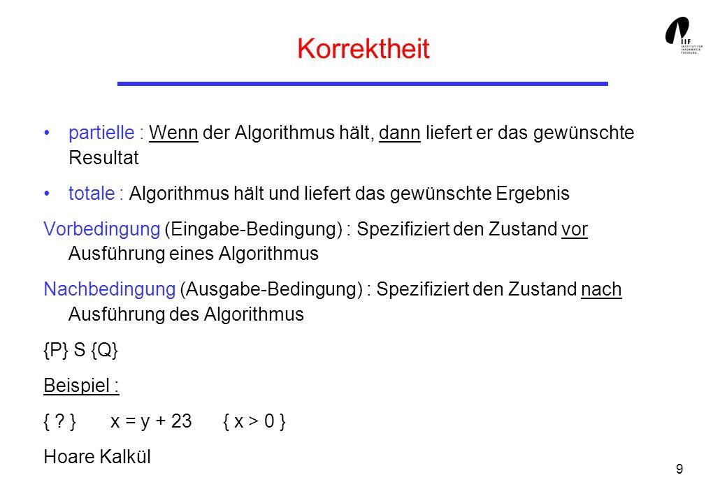 9 Korrektheit partielle : Wenn der Algorithmus hält, dann liefert er das gewünschte Resultat totale : Algorithmus hält und liefert das gewünschte Ergebnis Vorbedingung (Eingabe-Bedingung) : Spezifiziert den Zustand vor Ausführung eines Algorithmus Nachbedingung (Ausgabe-Bedingung) : Spezifiziert den Zustand nach Ausführung des Algorithmus {P} S {Q} Beispiel : { .