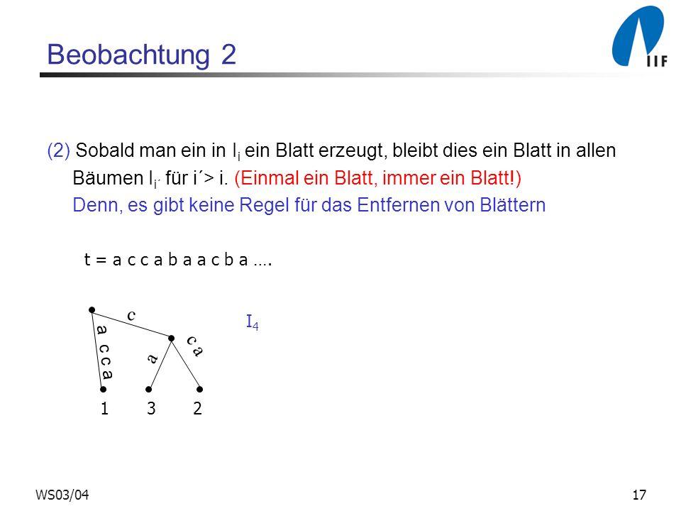 17WS03/04 Beobachtung 2 (2) Sobald man ein in I i ein Blatt erzeugt, bleibt dies ein Blatt in allen Bäumen I i´ für i´> i. (Einmal ein Blatt, immer ei