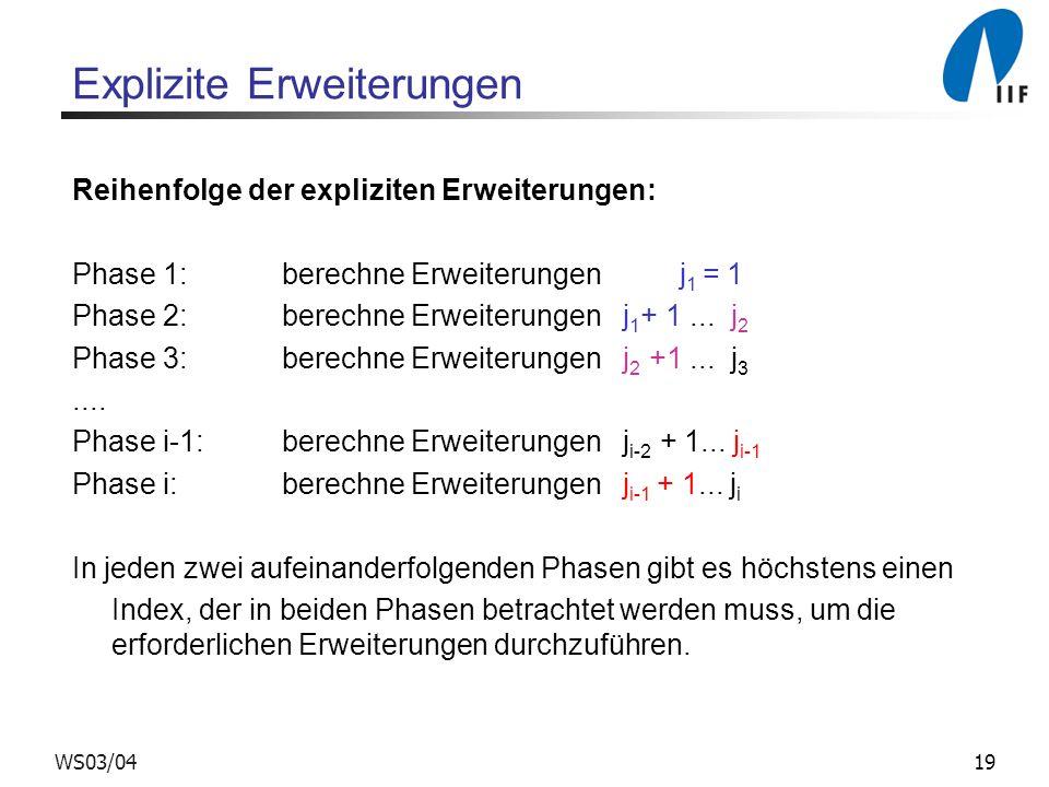 19WS03/04 Explizite Erweiterungen Reihenfolge der expliziten Erweiterungen: Phase 1: berechne Erweiterungen j 1 = 1 Phase 2: berechne Erweiterungen j