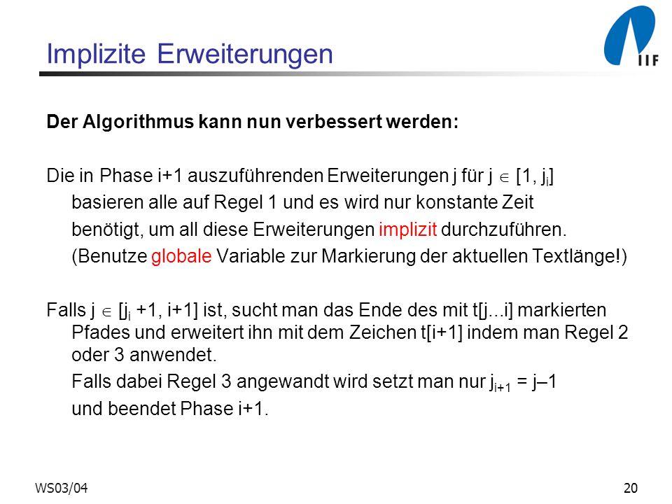 20WS03/04 Implizite Erweiterungen Der Algorithmus kann nun verbessert werden: Die in Phase i+1 auszuführenden Erweiterungen j für j [1, j i ] basieren