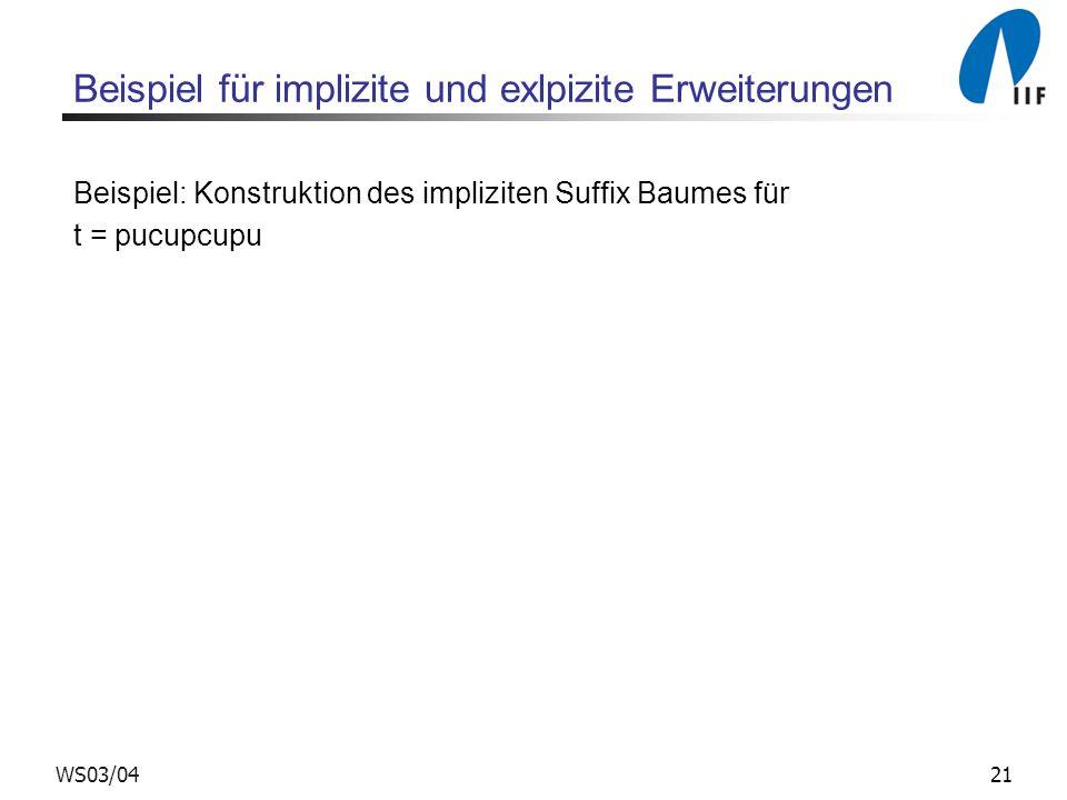21WS03/04 Beispiel für implizite und exlpizite Erweiterungen Beispiel: Konstruktion des impliziten Suffix Baumes für t = pucupcupu