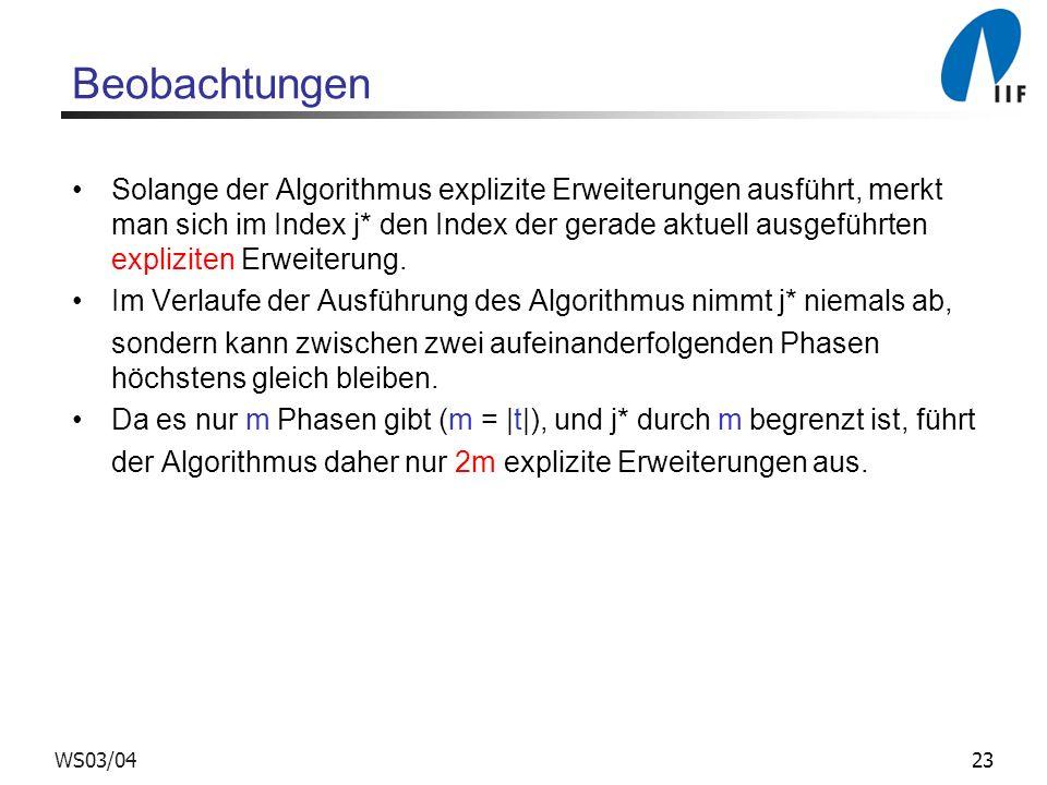 23WS03/04 Beobachtungen Solange der Algorithmus explizite Erweiterungen ausführt, merkt man sich im Index j* den Index der gerade aktuell ausgeführten