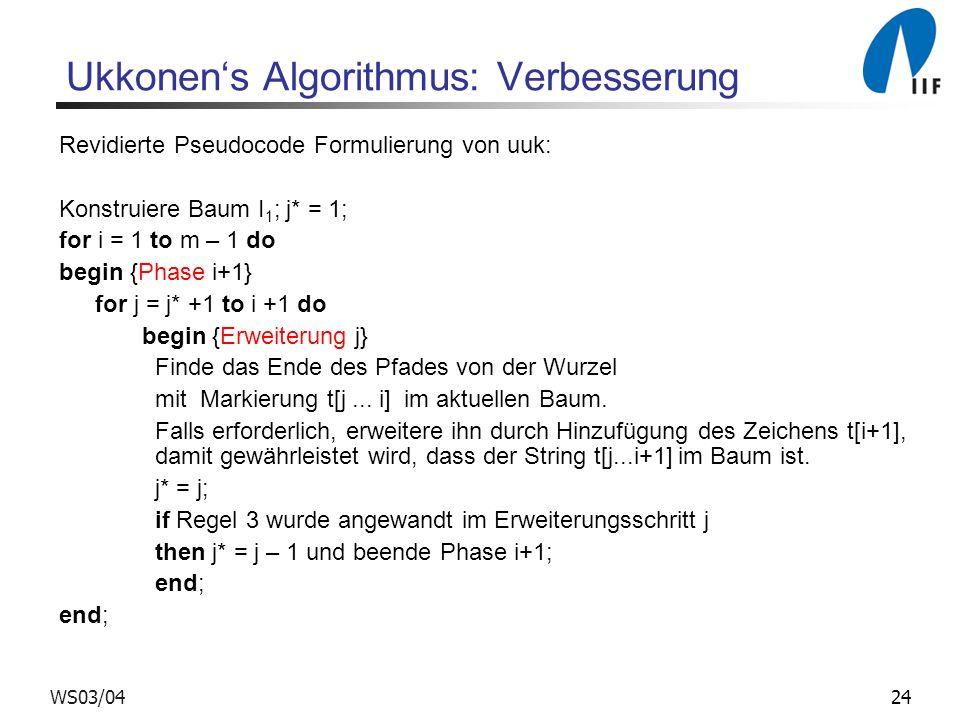 24WS03/04 Ukkonens Algorithmus: Verbesserung Revidierte Pseudocode Formulierung von uuk: Konstruiere Baum I 1 ; j* = 1; for i = 1 to m – 1 do begin {P