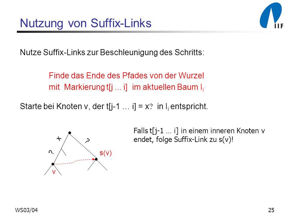 25WS03/04 Nutzung von Suffix-Links Nutze Suffix-Links zur Beschleunigung des Schritts: Finde das Ende des Pfades von der Wurzel mit Markierung t[j...