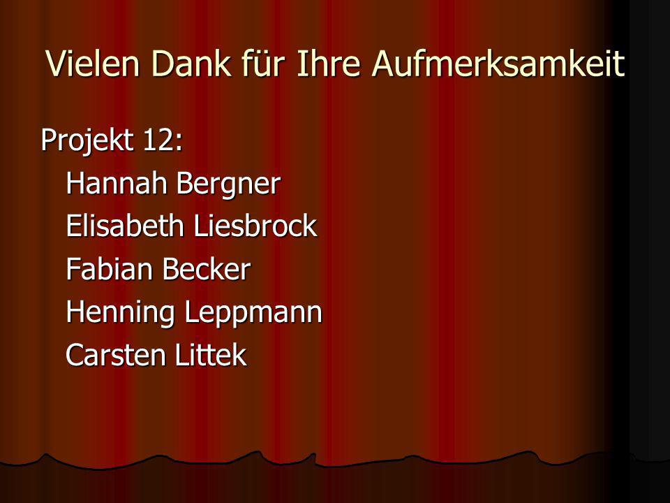 Vielen Dank für Ihre Aufmerksamkeit Projekt 12: Hannah Bergner Hannah Bergner Elisabeth Liesbrock Fabian Becker Henning Leppmann Carsten Littek