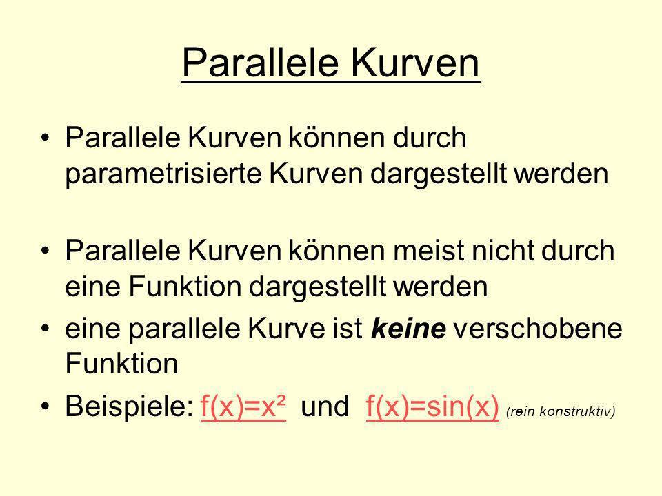 Parallele Kurven Parallele Kurven können durch parametrisierte Kurven dargestellt werden Parallele Kurven können meist nicht durch eine Funktion darge