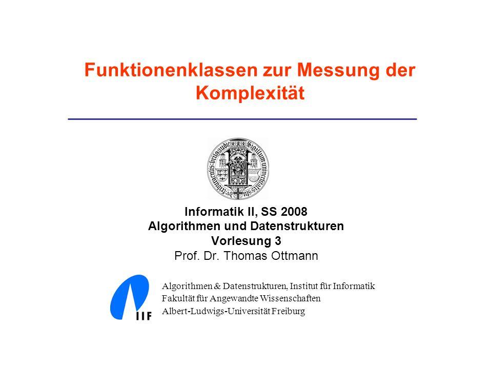 Informatik II, SS 2008 Algorithmen und Datenstrukturen Vorlesung 3 Prof. Dr. Thomas Ottmann Algorithmen & Datenstrukturen, Institut für Informatik Fak