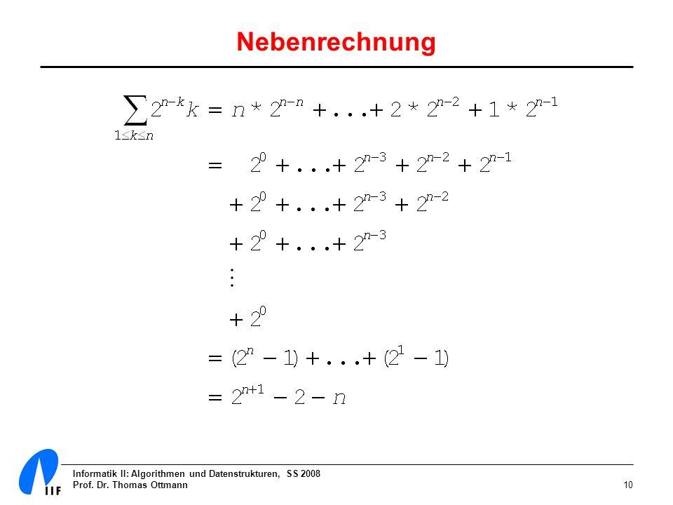 Informatik II: Algorithmen und Datenstrukturen, SS 2008 Prof. Dr. Thomas Ottmann10 Nebenrechnung