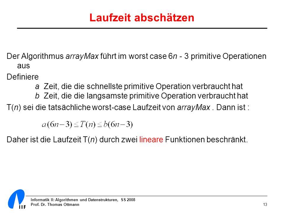 Informatik II: Algorithmen und Datenstrukturen, SS 2008 Prof. Dr. Thomas Ottmann13 Laufzeit abschätzen Der Algorithmus arrayMax führt im worst case 6n