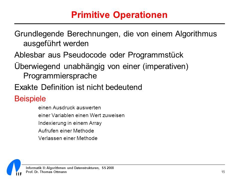 Informatik II: Algorithmen und Datenstrukturen, SS 2008 Prof. Dr. Thomas Ottmann15 Primitive Operationen Grundlegende Berechnungen, die von einem Algo