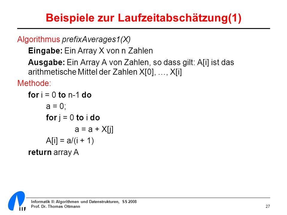 Informatik II: Algorithmen und Datenstrukturen, SS 2008 Prof. Dr. Thomas Ottmann27 Beispiele zur Laufzeitabschätzung(1) Algorithmus prefixAverages1(X)