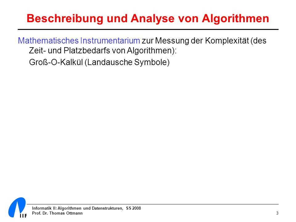 Informatik II: Algorithmen und Datenstrukturen, SS 2008 Prof. Dr. Thomas Ottmann3 Mathematisches Instrumentarium zur Messung der Komplexität (des Zeit