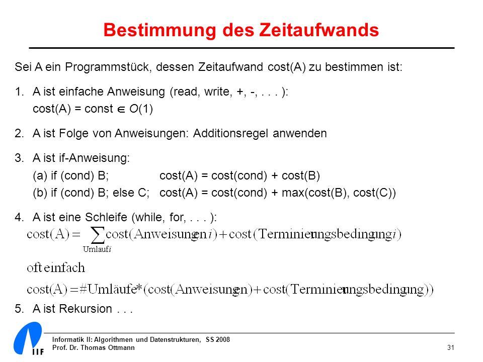 Informatik II: Algorithmen und Datenstrukturen, SS 2008 Prof. Dr. Thomas Ottmann31 Bestimmung des Zeitaufwands Sei A ein Programmstück, dessen Zeitauf