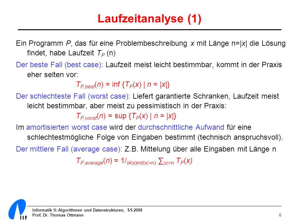 Informatik II: Algorithmen und Datenstrukturen, SS 2008 Prof. Dr. Thomas Ottmann6 Laufzeitanalyse (1) Ein Programm P, das für eine Problembeschreibung